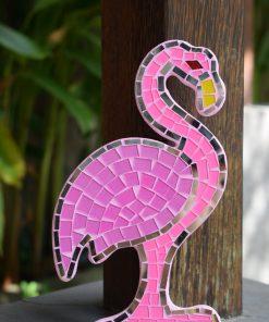 flamingo wanddecoratie van mozaiek